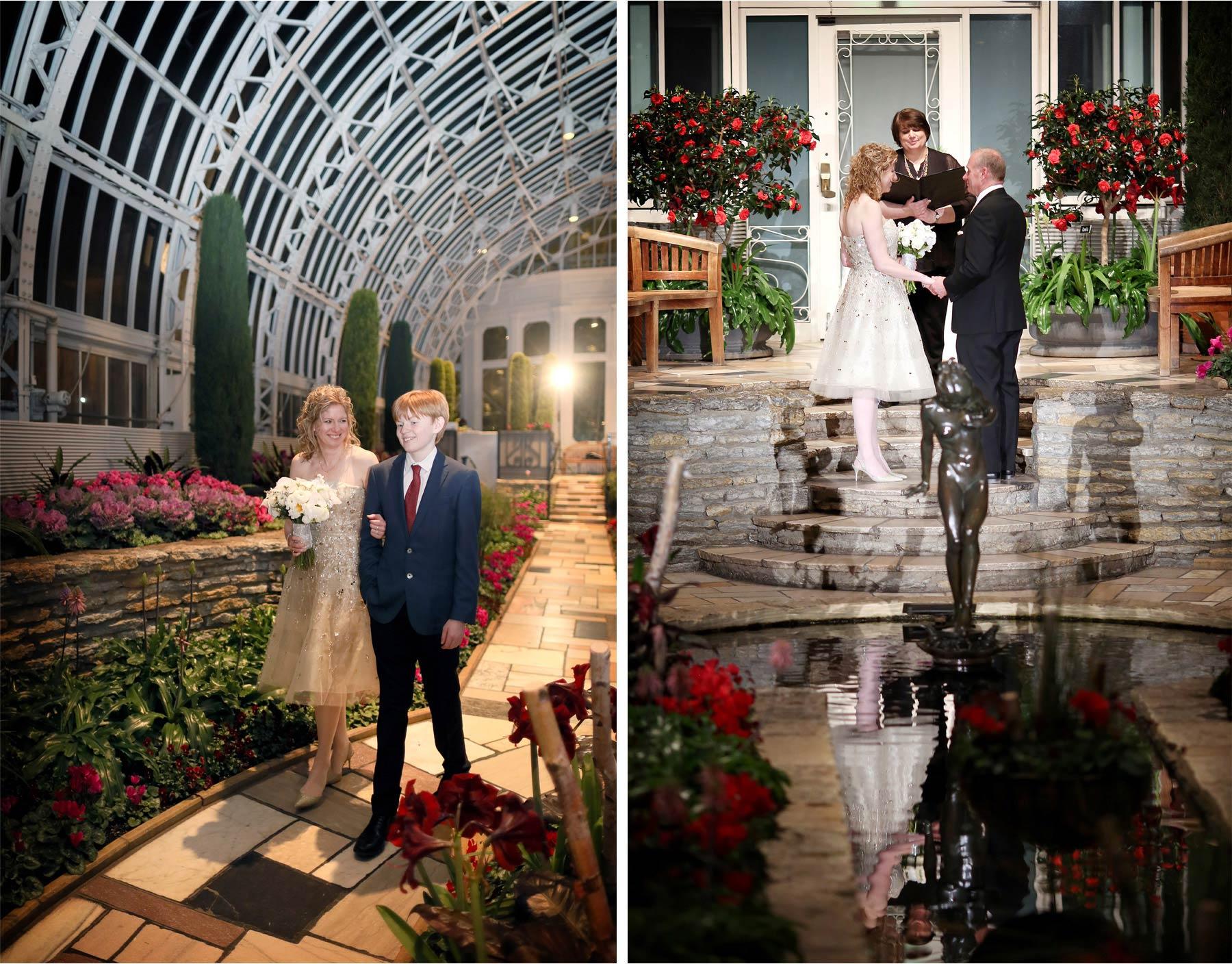 11-Saint-Paul-Minnesota-Wedding-Photographer-by-Andrew-Vick-Photography-Winter-Como-Park-Conservatory-Sunken-Garden-Ceremony-Bride-Groom-Son-Family-Processional-Flowers-Night-Dannette-and-Darren.jpg