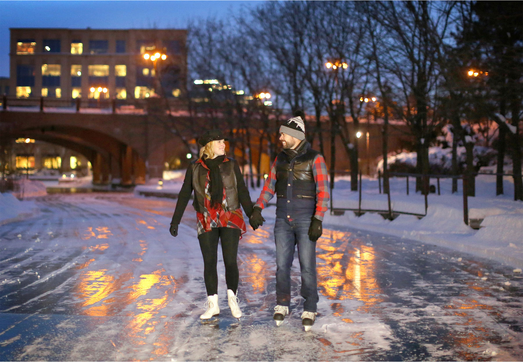08-Edina-Minnesota-Wedding-Photographer-by-Andrew-Vick-Photography-Winter-Engagement-Bride-Groom-Snow-Bridge-Night-Lights-Ice-Skating-Frozen-Pond-Heather-and-Rob.jpg