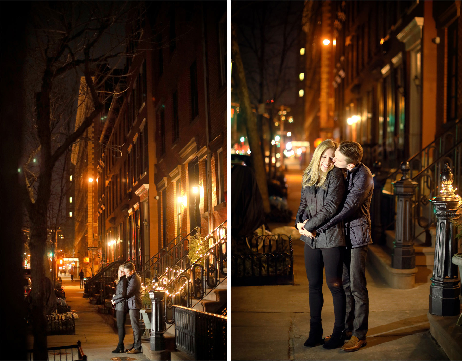 04-New-York-City-Wedding-Photographer-by-Andrew-Vick-Photography-Winter-Engagement-Bride-Groom-Kiss-Night-Embrace-Emily-and-Jon.jpg