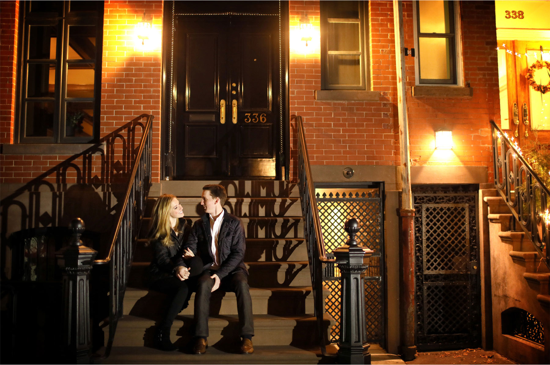 05-New-York-City-Wedding-Photographer-by-Andrew-Vick-Photography-Winter-Engagement-Bride-Groom-Night-Apartment-Stoop-Emily-and-Jon.jpg