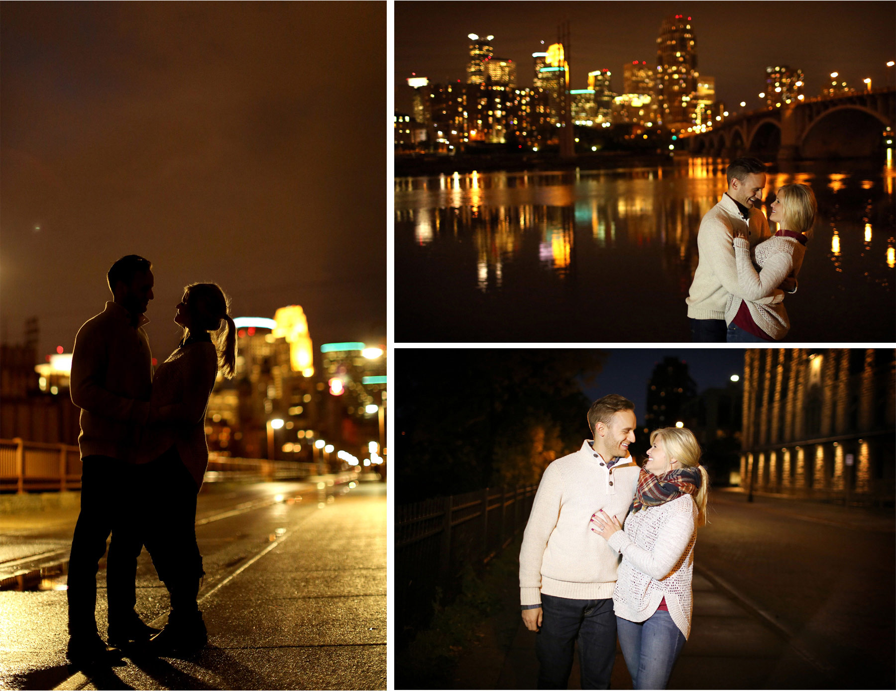 11-Minneapolis-Minnesota-Wedding-Photographer-by-Andrew-Vick-Photography-Fall-Autumn-Engagement-Bride-Groom-Downtown-Skyline-Stone-Arch-Bridge-Night-Silhouette-Embrace-Mississippi-River-Mallory-and-Kyle.jpg
