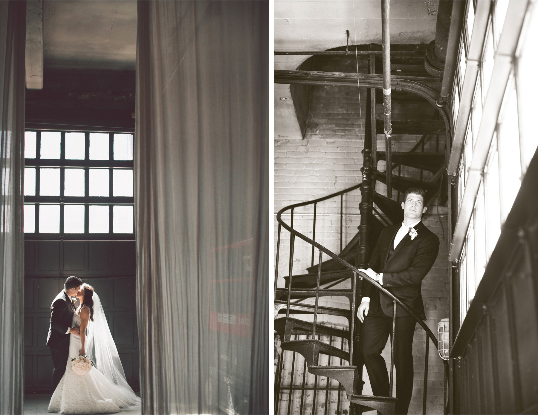 07-Minneapolis-Minnesota-Wedding-Photographer-by-Andrew-Vick-Photography-Aria-Spring-First-Meeting-Look-Bride-Groom-Embrace-Kiss-Sprial-Stairecase-Stairs-Black-and-White-Alex-and-Andy.jpg