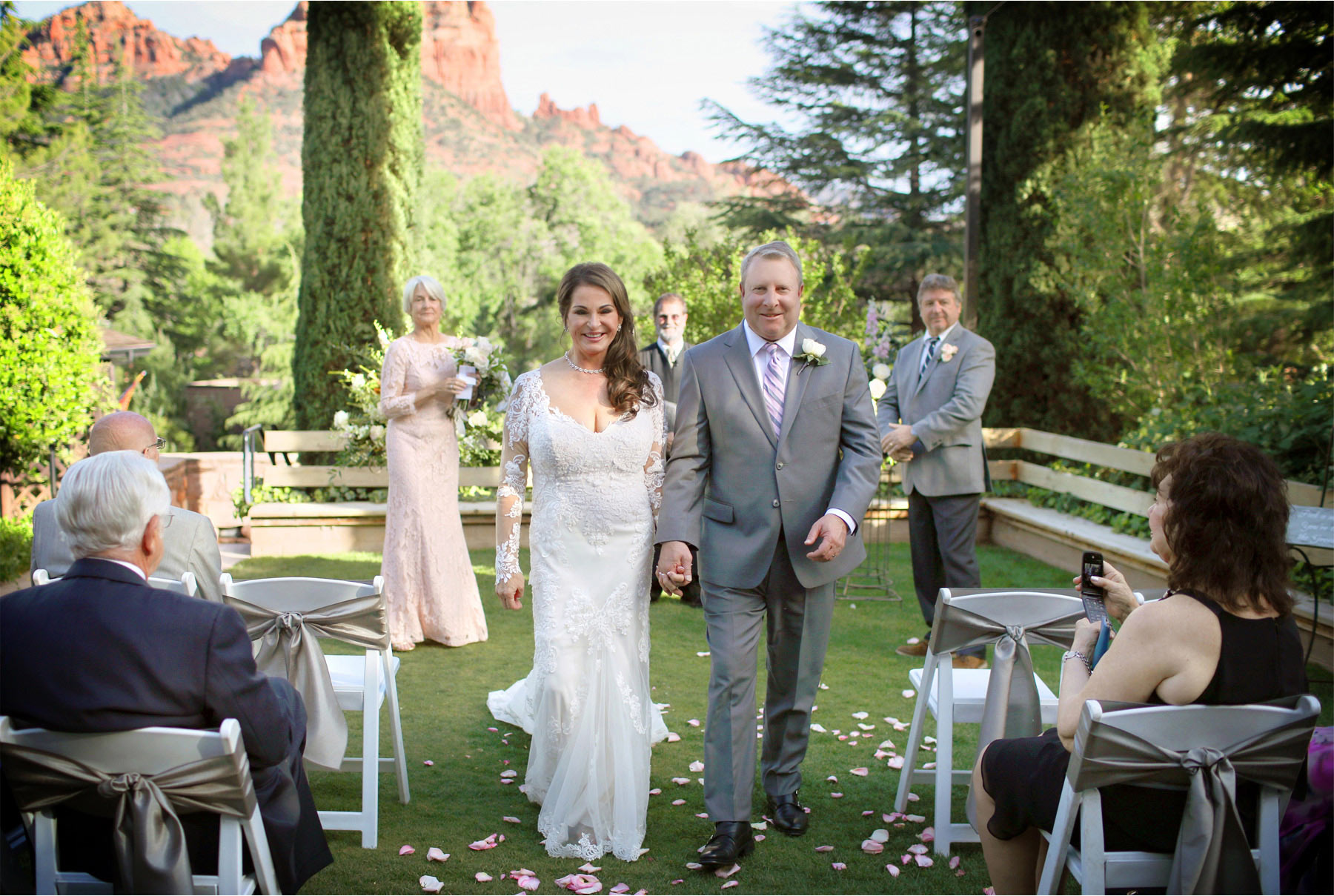 19-Sedona-Arizona-Wedding-Photographer-by-Andrew-Vick-Photography-Spring--LAuberge-de-Sedona-Resort-Ceremony-Garden-Lawn-Bride-Groom-Recessional-Barbara-and-Mike.jpg