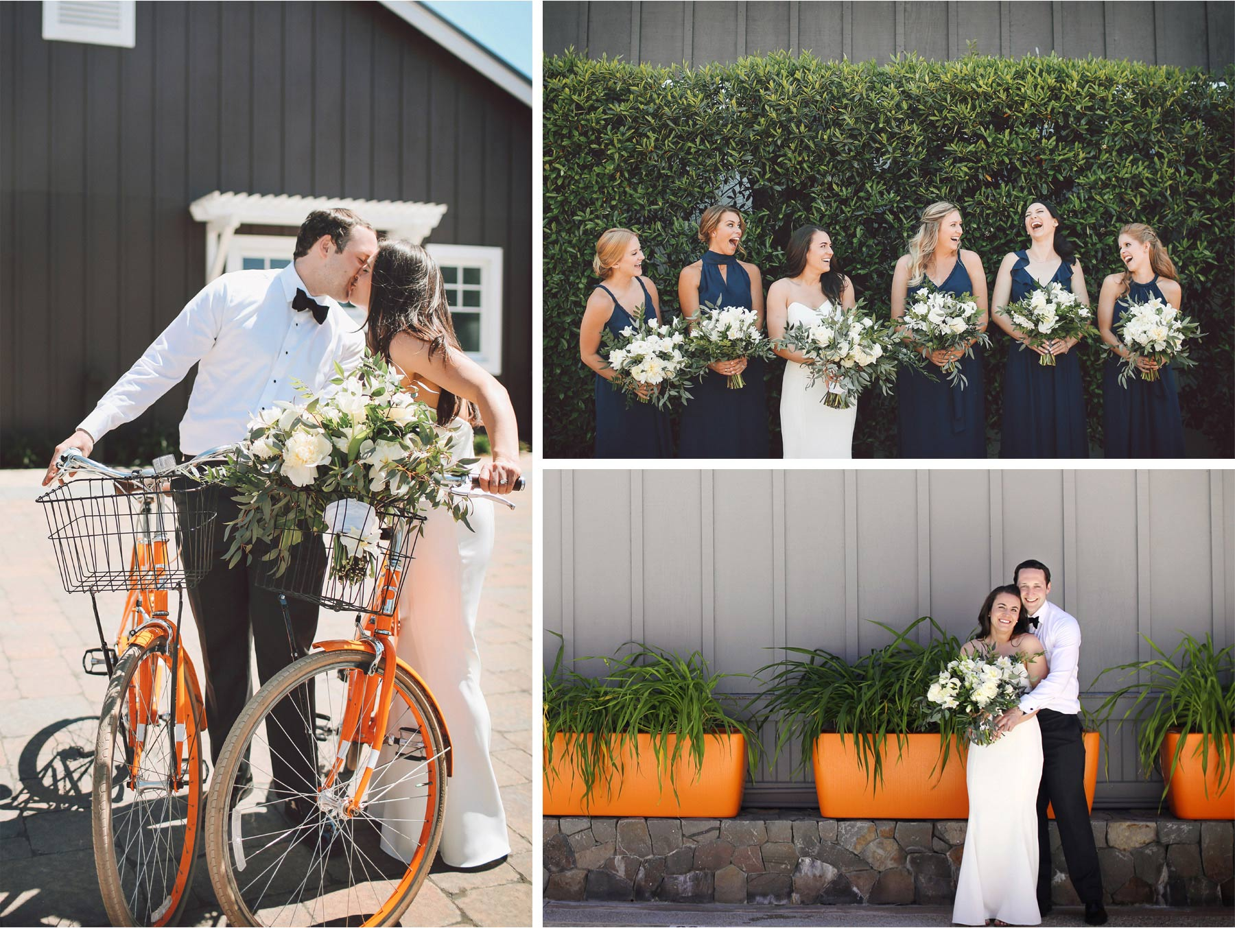 11-Napa-California-Wedding-Photographer-by-Andrew-Vick-Photography-Spring-Destination-Carneros-Resort-and-Spa-Bride-Groom-Bridesmaids-Bikes-Bicycles-Flowers-Kiss-Vintage-Alex-and-Roger.jpg