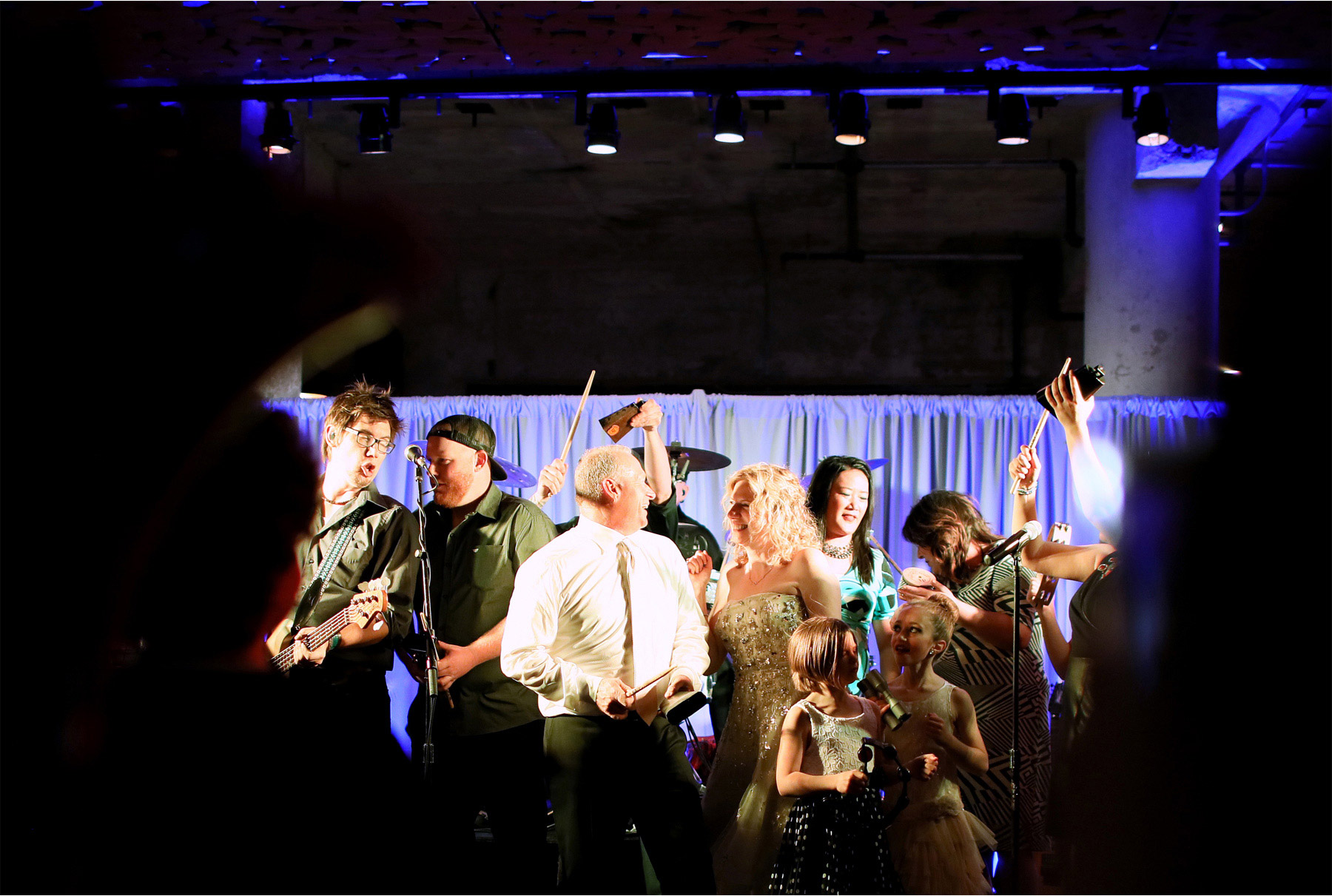 16-Minneapolis-Minnesota-Wedding-Photographer-by-Andrew-Vick-Photography-Spring-Mill-City-Museum-Downtown-Bride-Groom-Dance-Cowbell-Band-Musicians-Dannette-and-Darren.jpg