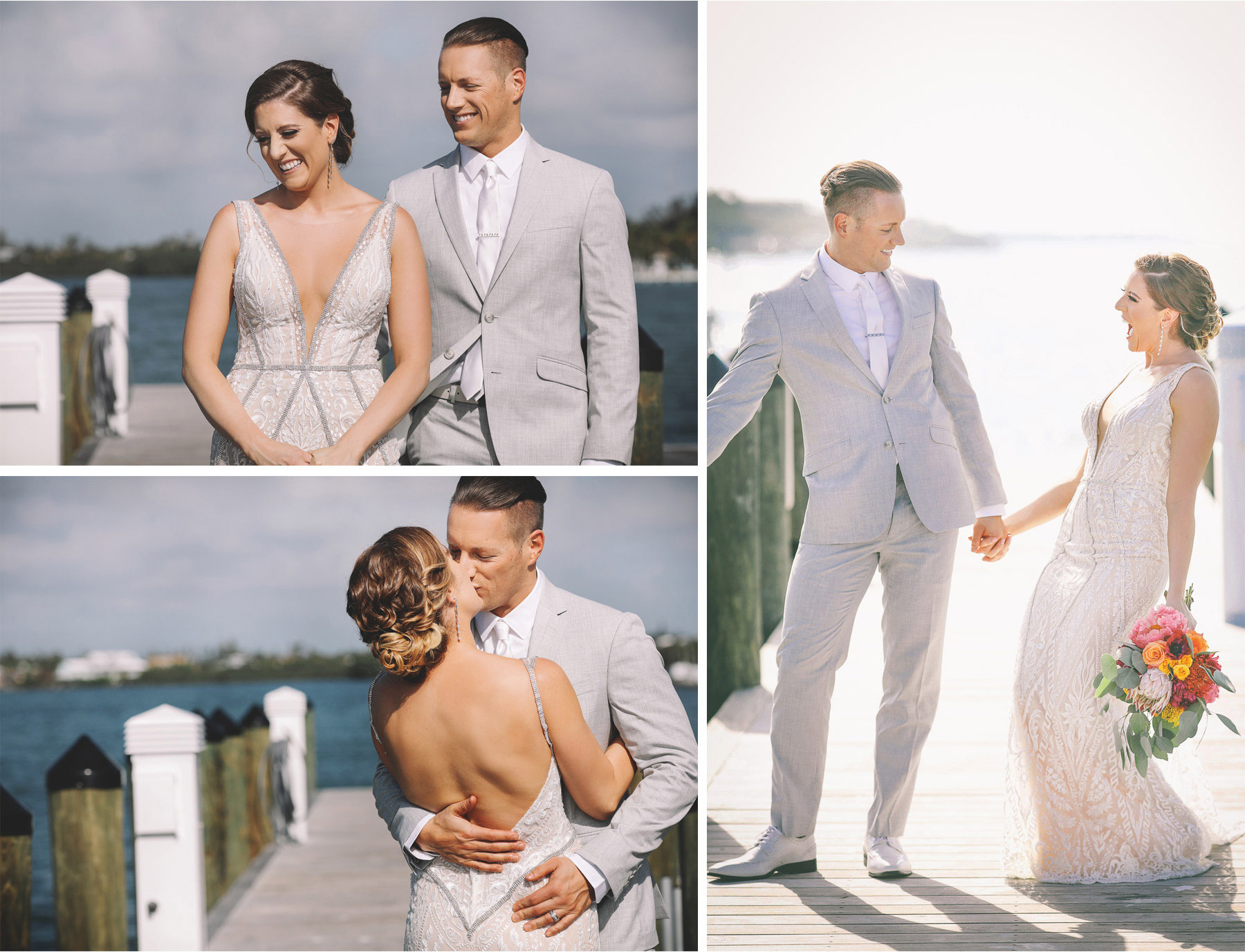 06-Key-Largo-Florida-Keys-Wedding-Photographer-by-Andrew-Vick-Photography-Playa-Largo-Resort-and-Spa-Hotel-Destination-Winter-First-Meeting-Look-Bride-Groom-Docks-Kiss-Excitement-Flowers-Ocean-Water-Vintage-Carrie-and-Brian.jpg