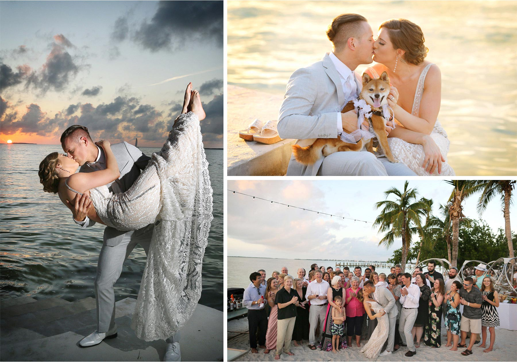 18-Key-Largo-Florida-Keys-Wedding-Photographer-by-Andrew-Vick-Photography-Playa-Largo-Resort-and-Spa-Hotel-Destination-Winter-Bride-Groom-Kiss-Dip-Water-Ocean-Sunset-Dog-Beach-Guests-Vintage-Carrie-and-Brian.jpg