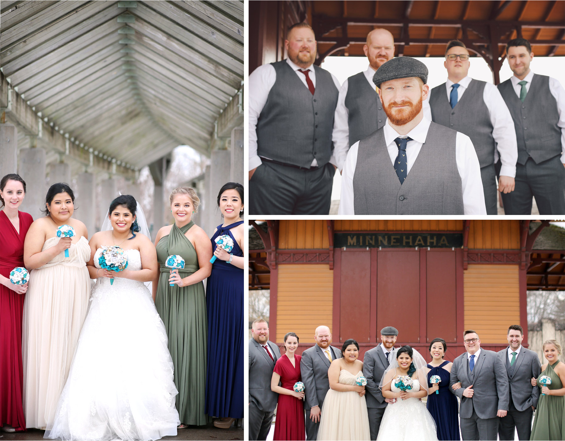09-Saint-Paul-Minnesota-Wedding-Photography-by-Vick-Photography-Groomsmen-Vests-Bridesmaids-Mismatched-Dresses-Groom-Hat-Elena-and-Doug.jpg