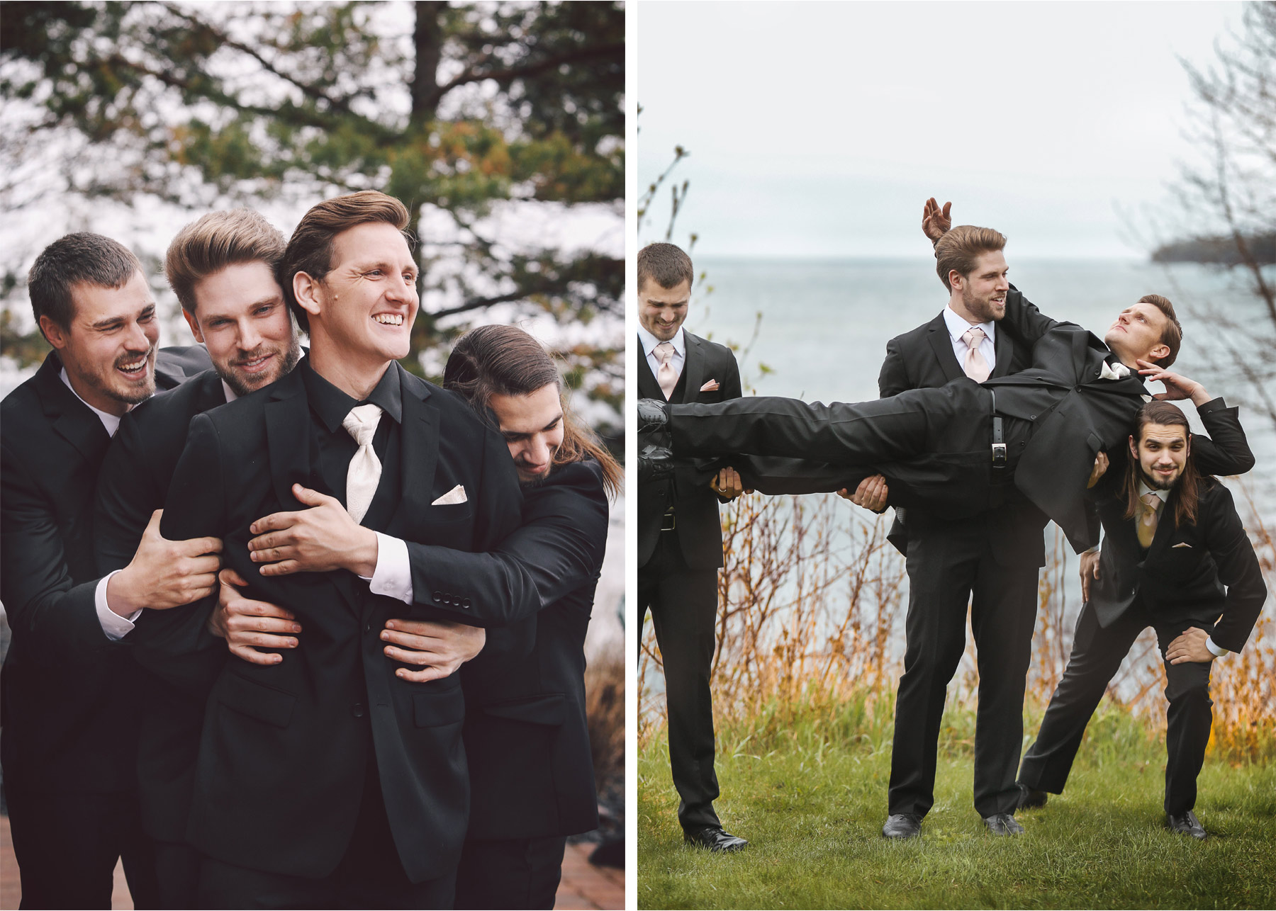 11-Minnesota-Wedding-by-Andrew-Vick-Photography-Grand-Superior-Lodge-Duluth-Two-Harbors-Groom-Groomsmen-Laughing-Lake-Superior-Rain-Shore-Veronica-and-Tyler.jpg