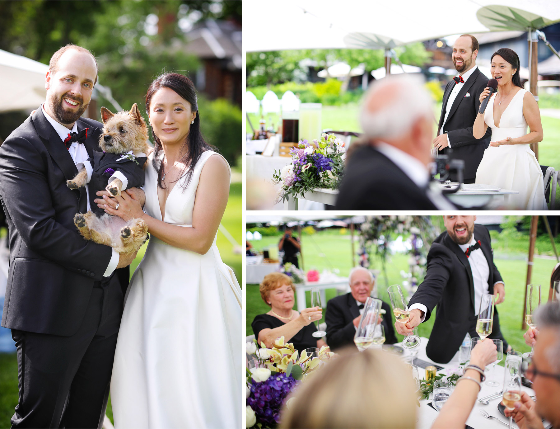 17-Vick-Photography-Wedding-Stouts-Island-Lodge-Wisconsin-Summer-Reception-Outdoor-Toast-Dog-MiJa-and-Lucius.jpg