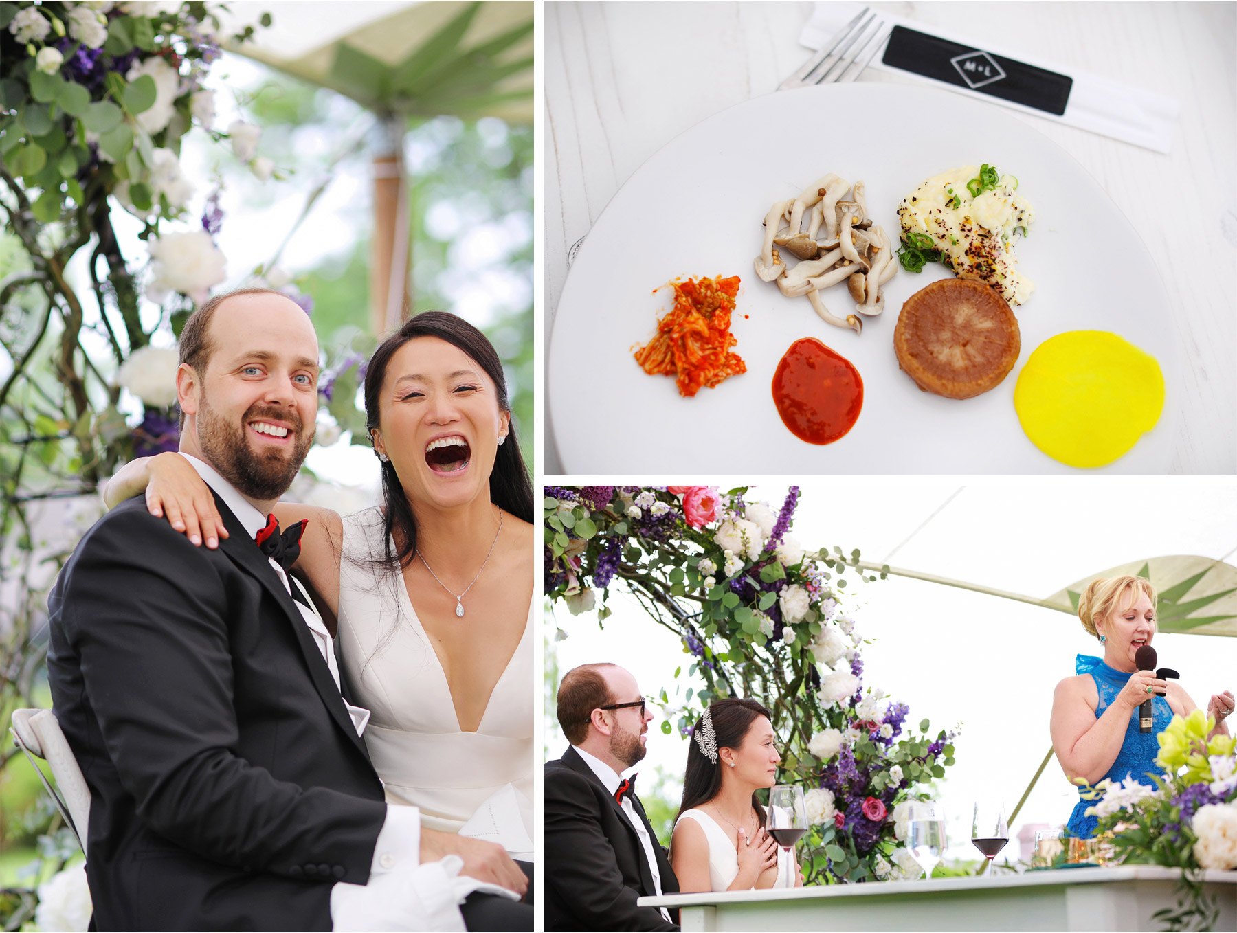 20-Vick-Photography-Wedding-Stouts-Island-Lodge-Wisconsin-Summer-Reception-Outdoor-Toast-Laughing-Food-MiJa-and-Lucius.jpg