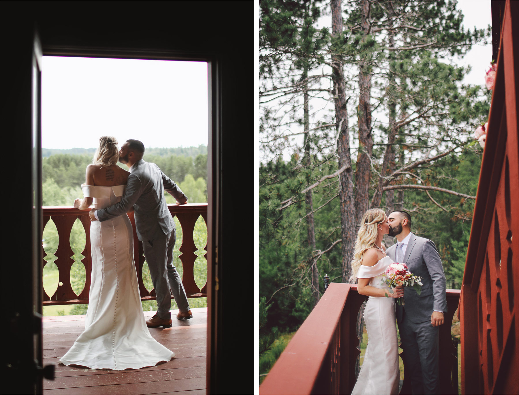 07-Ely-Minnesota-North-Wedding-by-Andrew-Vick-Photography-Bride-Groom-First-Look-Cabin-Woods-Kiss-Katie-and-Joe.jpg