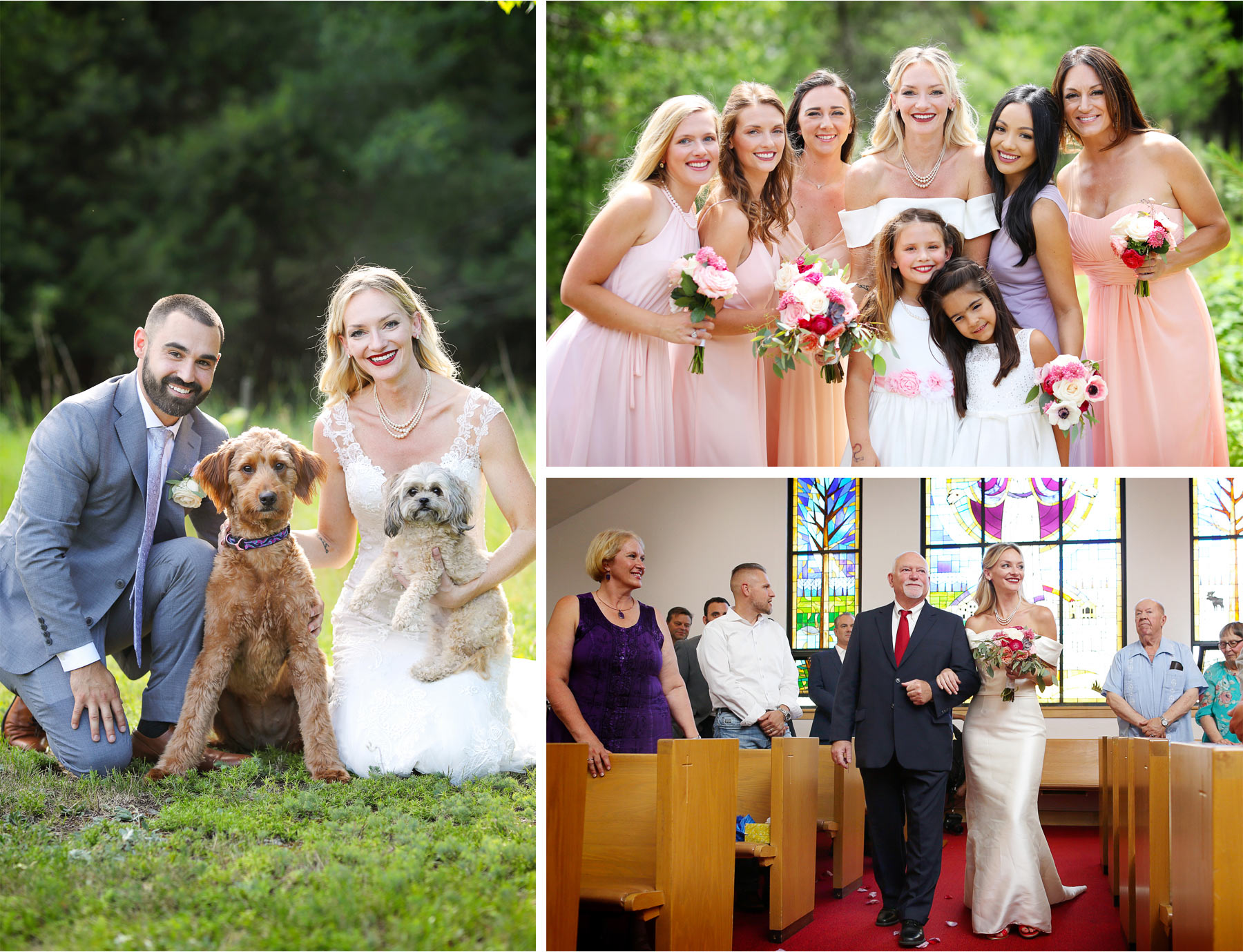 10-Ely-Minnesota-North-Wedding-by-Andrew-Vick-Photography-Bridesmaids-Dogs-Bride-Father-Aisle-Katie-and-Joe.jpg