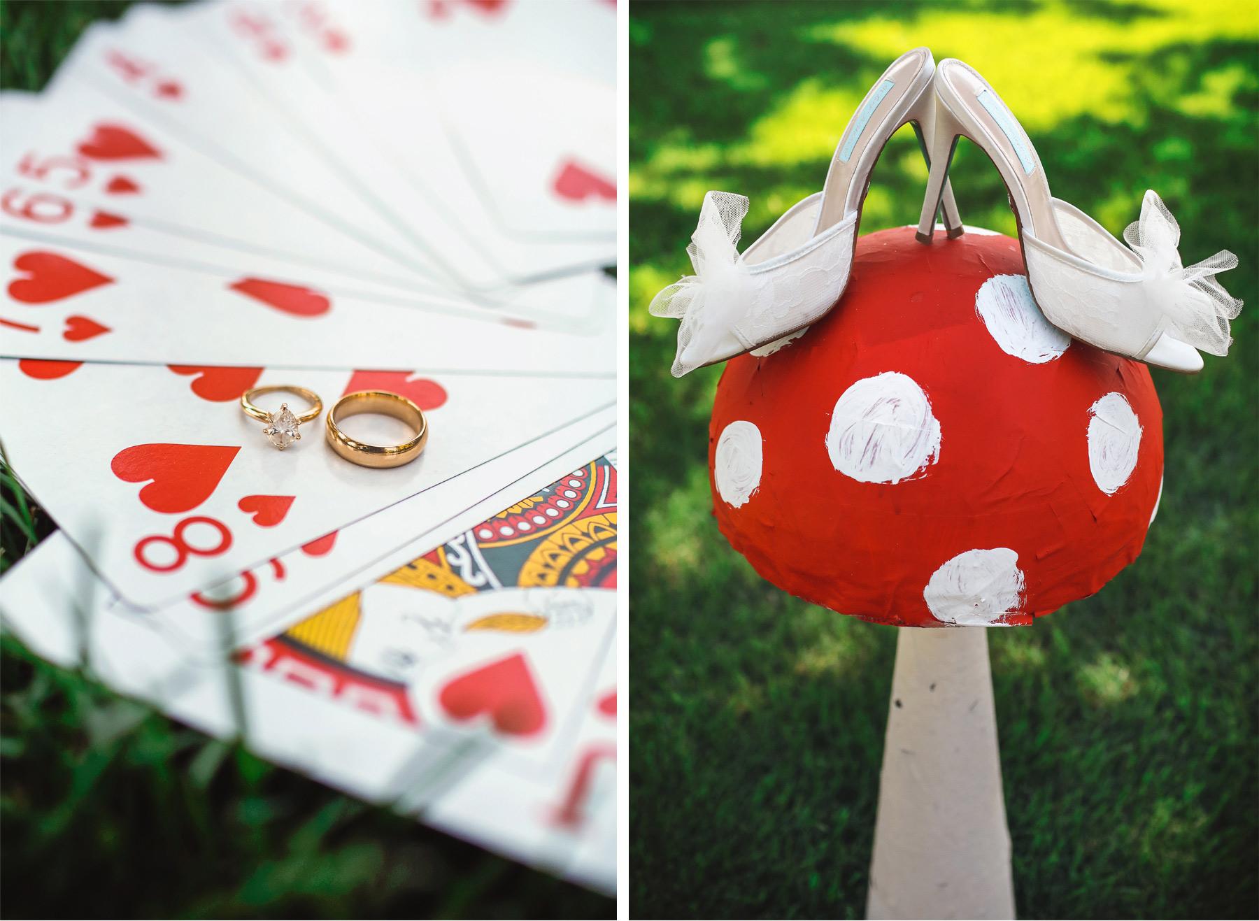 01-Vick-Photography-Wedding-Ottertail-Minnesota-Alice-in-Wonderland-Theme-Mushroom-Toadstool-Playing-Cards-Rings-Tess-and-Greg.jpg