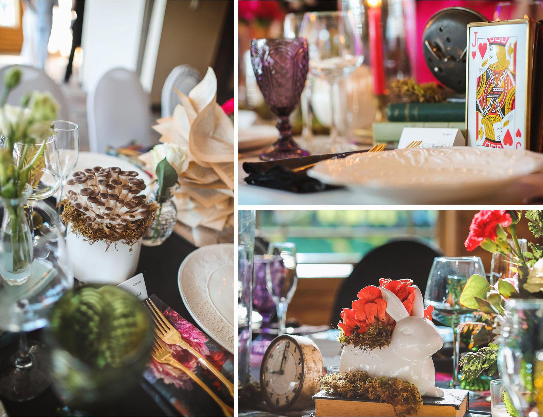 18-Vick-Photography-Wedding-Ottertail-Minnesota-Alice-in-Wonderland-Theme-Reception-Table-Decor-Mushrooms-White-Rabit-Tess-and-Greg.jpg