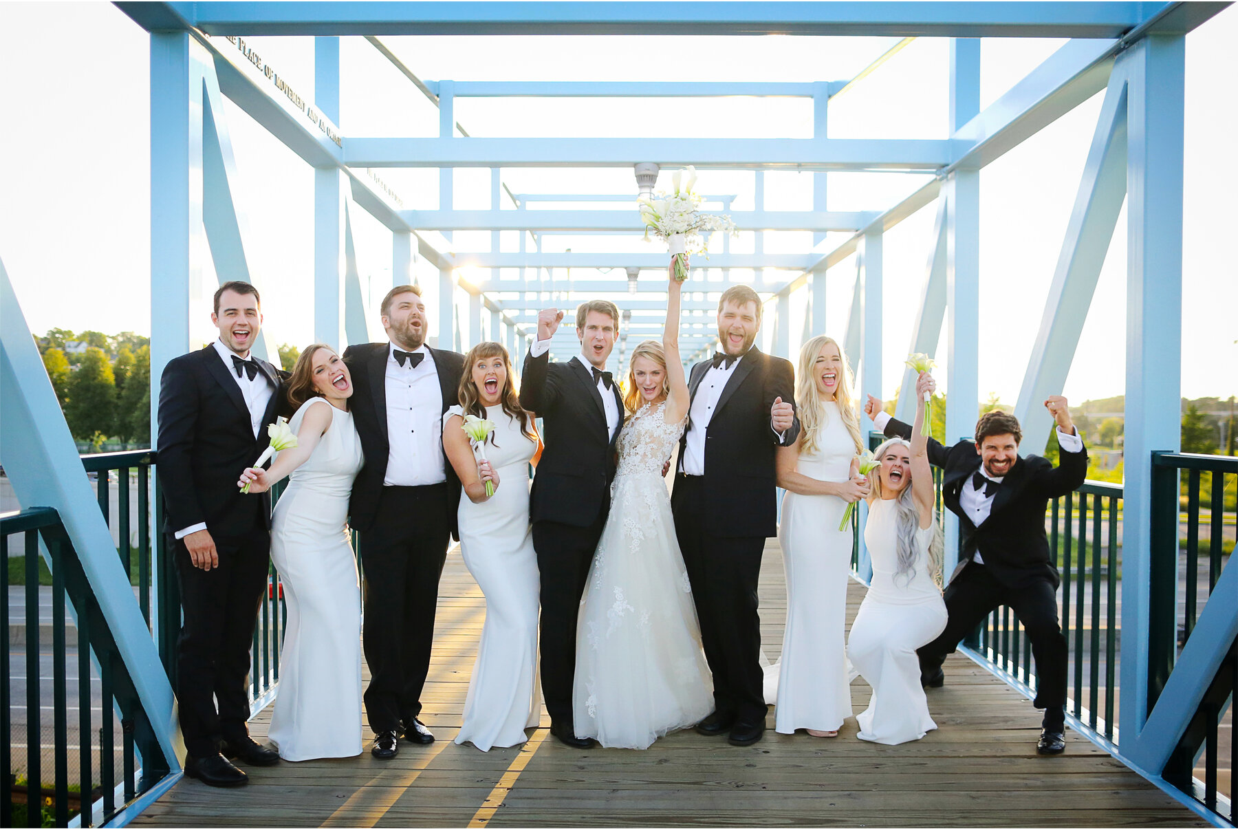 16 Wedding Vick Photography Minneapolis Minnesota Bridesmaids Groomsmen Blue Bridge Michelle and William.jpg