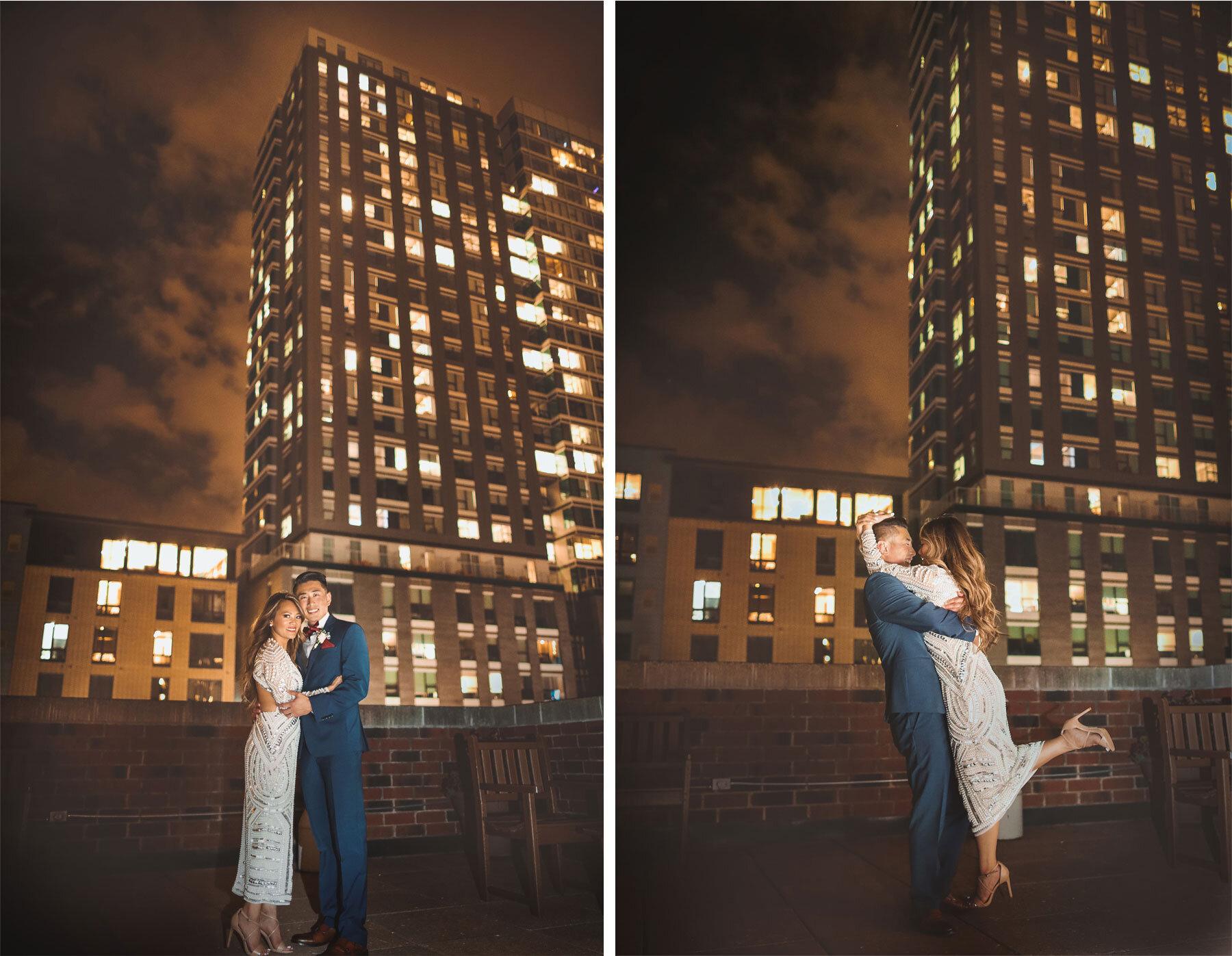 20-Vick-Photography-Minneapolis-Minnesota-The-Graduate-Hotel-Exterior-Night-Bride-Groom-Kiss-Skyline-Mai-&-Ross.jpg