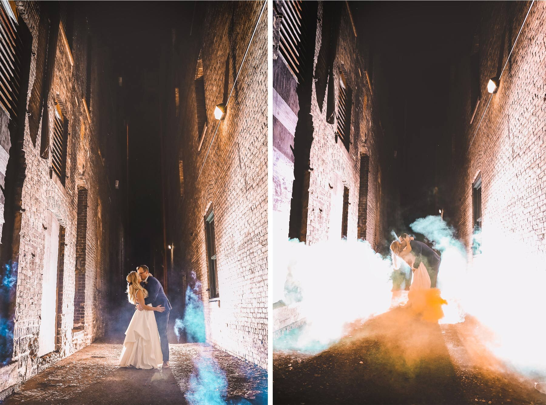 18-Vick-Photography-Wedding-Minneapolis-Minnesota-Downtown-Alley-Groom-Night-Smoke-Danielle-and-Tom.jpg