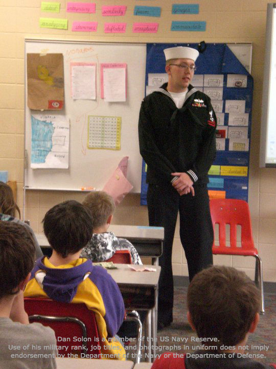 Dan speaking to students at Homecroft Elementary School in his hometown of Duluth, MN.