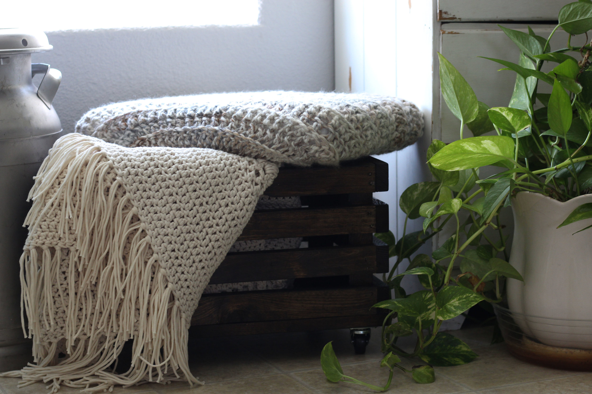 """Crochet Hygge blanket pattern can be found in the """"pattern"""" section of the blog"""