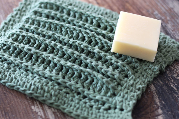 Striped Rustic Wash Cloth - Using waistcoat stitch ( AKA the knit crochet stitch) this cloth has a beautiful drape and