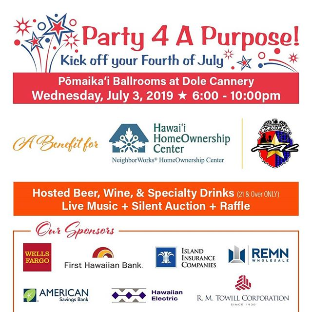 2019 Party 4 A Purpose is fast approaching! Theres still time to purchase your ticket🎟  #HonoluluPros #Party4APurpose #HiLife #OahuLife #LiveMusic #Honolulu #HonoluluEvents #Living808 #PomaikaiBallrooms #HHOC #KPAL