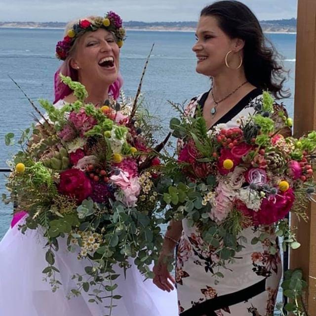 "Direct quote from the bride ""make the biggest, craziest, most Lady Gaga bouquet of your life!"" ✔️ #happybridehappyflorist #elopement #bridalbouquet #sarahbellafloraldesign #peonies #pheasantfeathers #billyballs #bellsofireland  #artichoke #protea #mohbouquet #flowercrown #allpinkeverything #ladygagainspiration  #pointwestflowermarket"