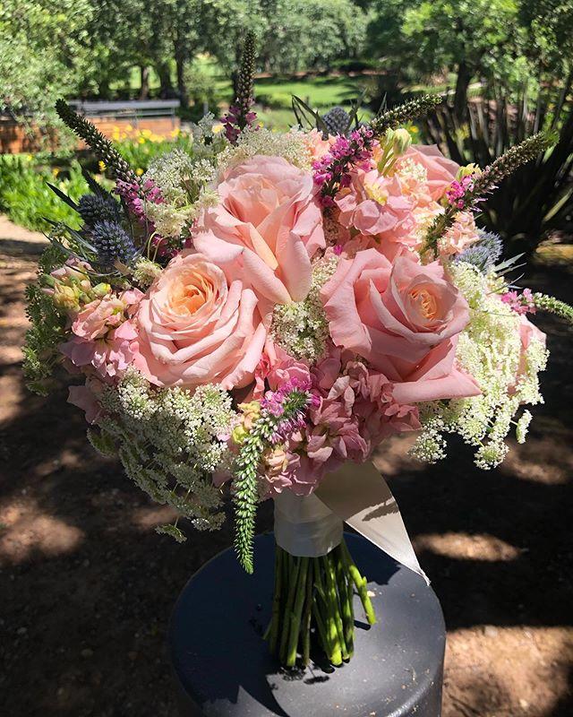Pretty in Pink {with a tiny pop of blue} 💕  #bridesmaidbouquet #sarahbellafloraldesign #prettyinpink #napavalleywedding #napavalleyflorist