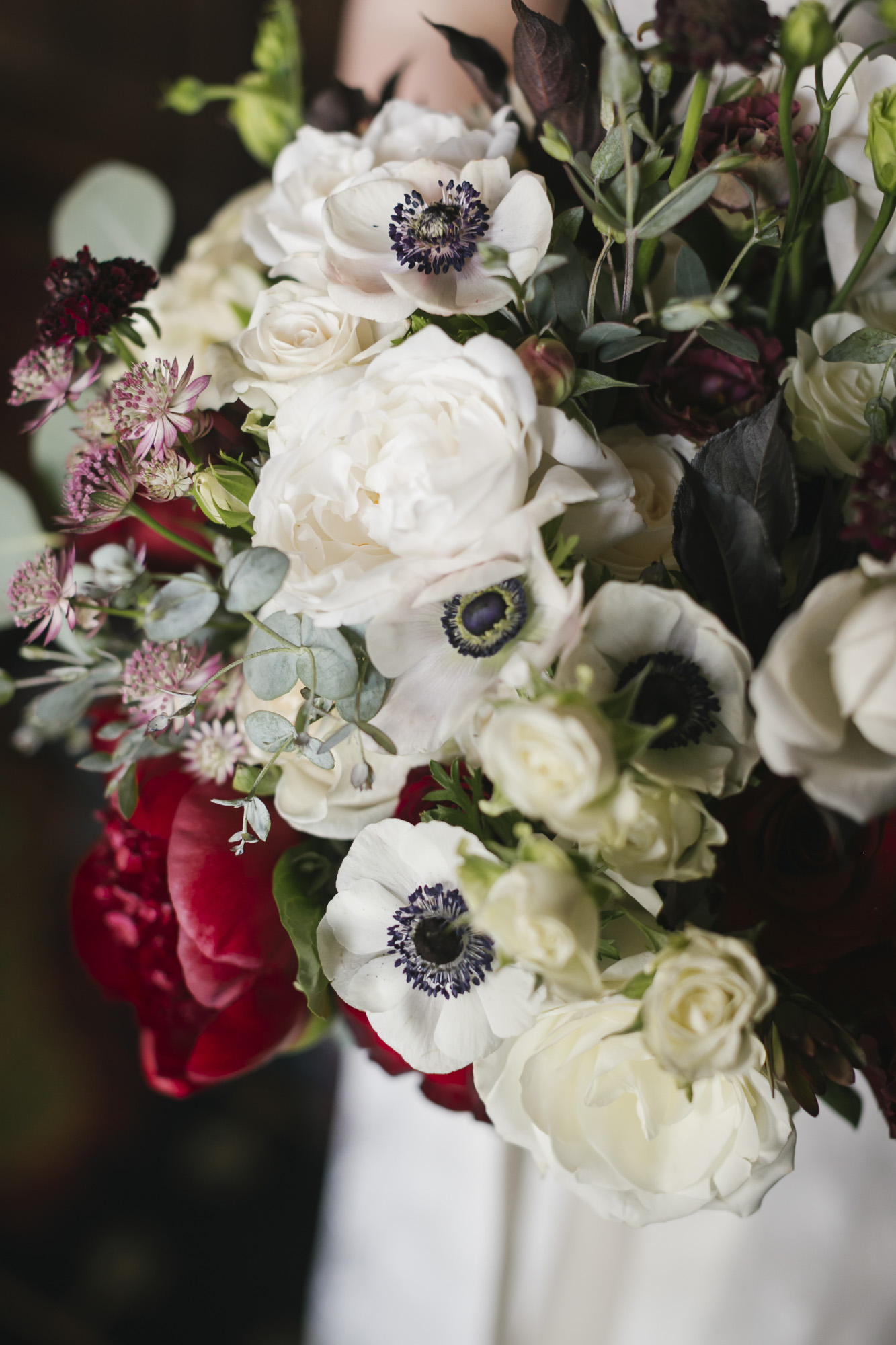 A beautiful winter bouquet with white anemones