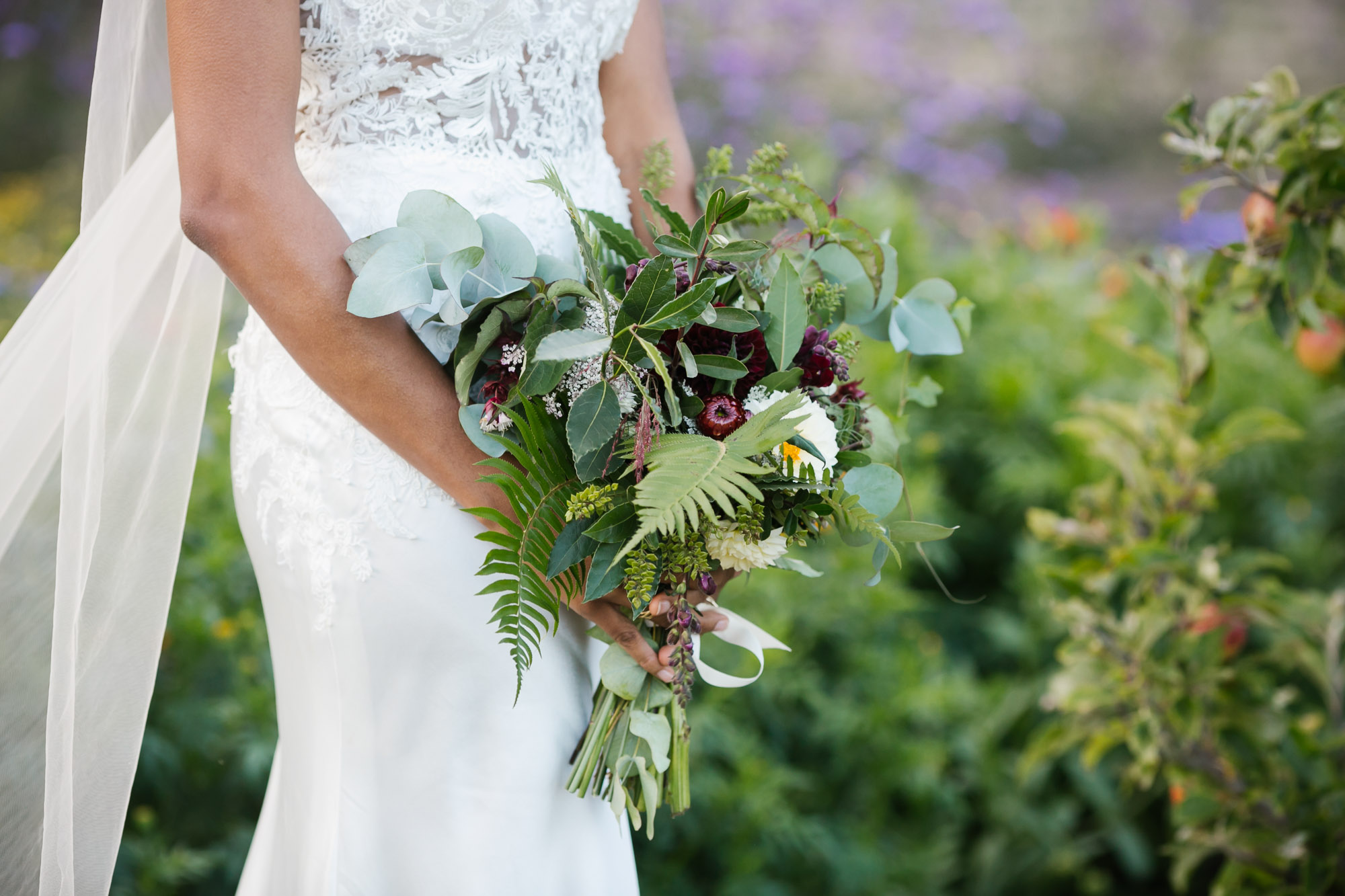 Handmade bouquet made from farm fresh flowers and ferns