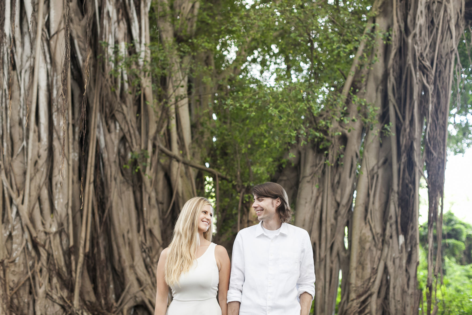 Engagement session in rain forest in Kauai