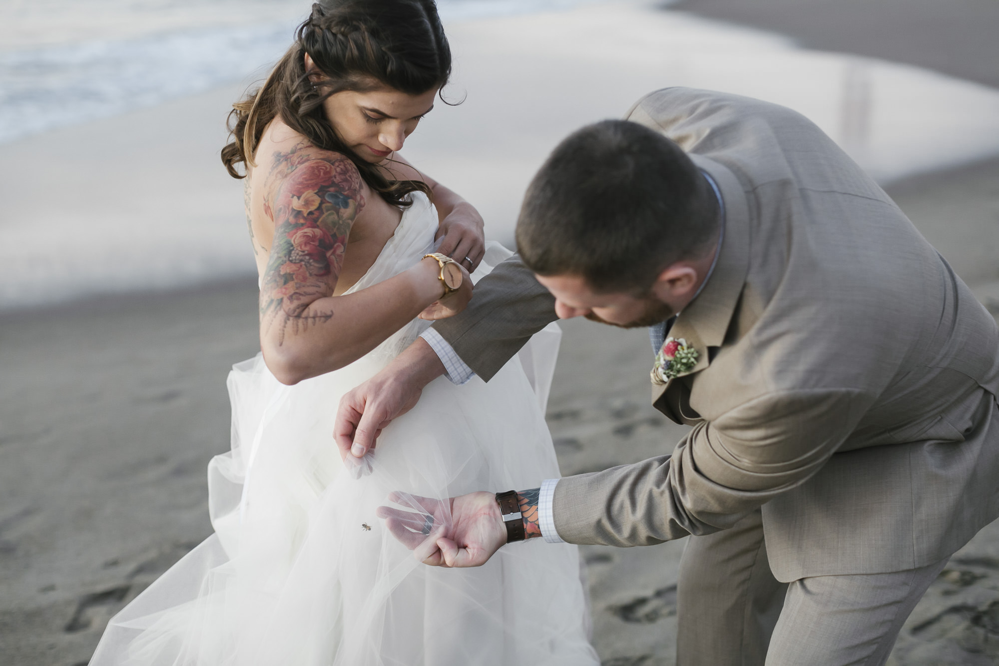 Groom helps get a bee out of his bride's wedding dress on the beach