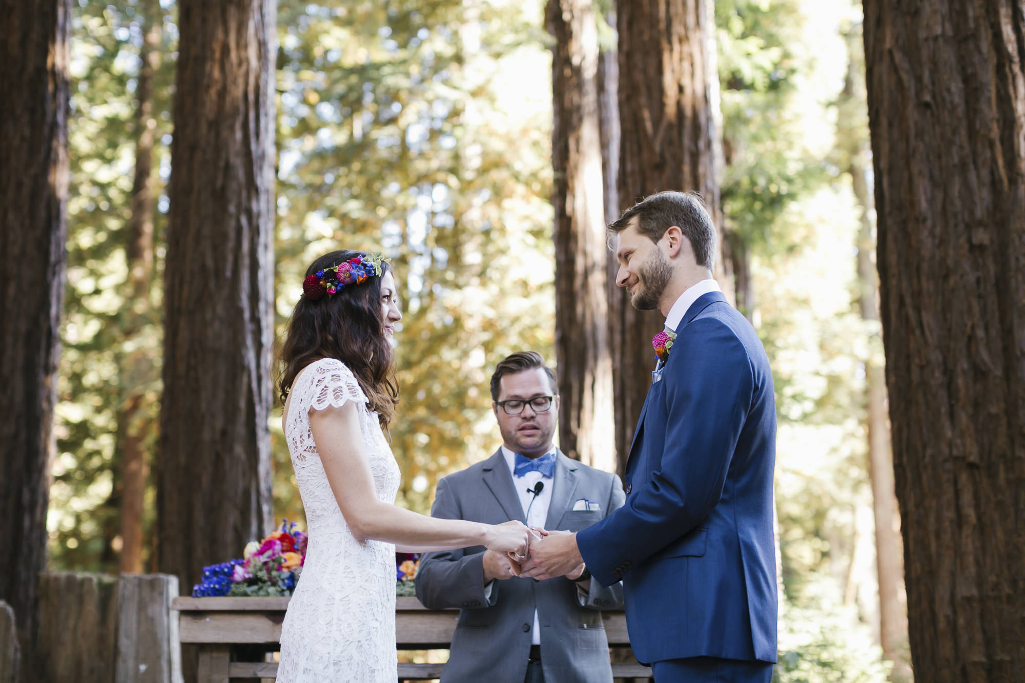Colorful wedding couple get married at Camp Campbell