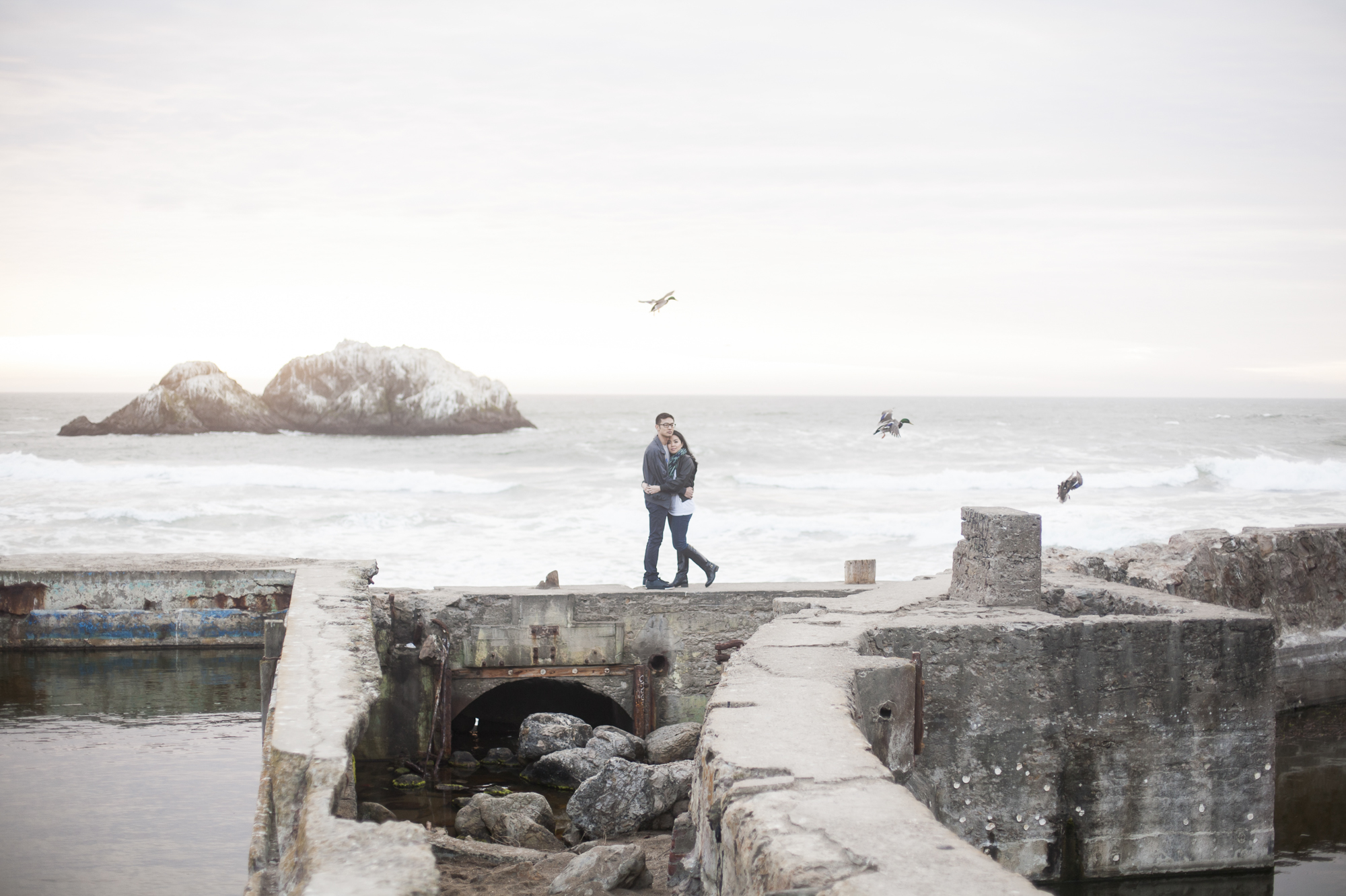 Sutro Bath ruins engagement session with a foggy sunset and flying birds