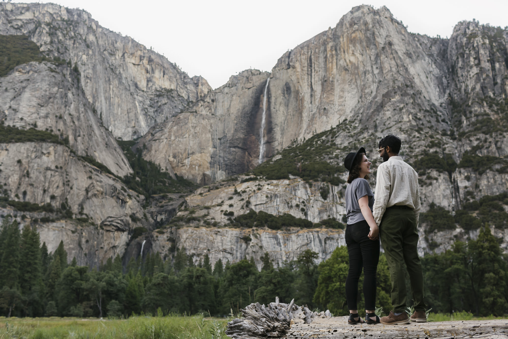 Couple in Yosemite Valley enjoying the falls