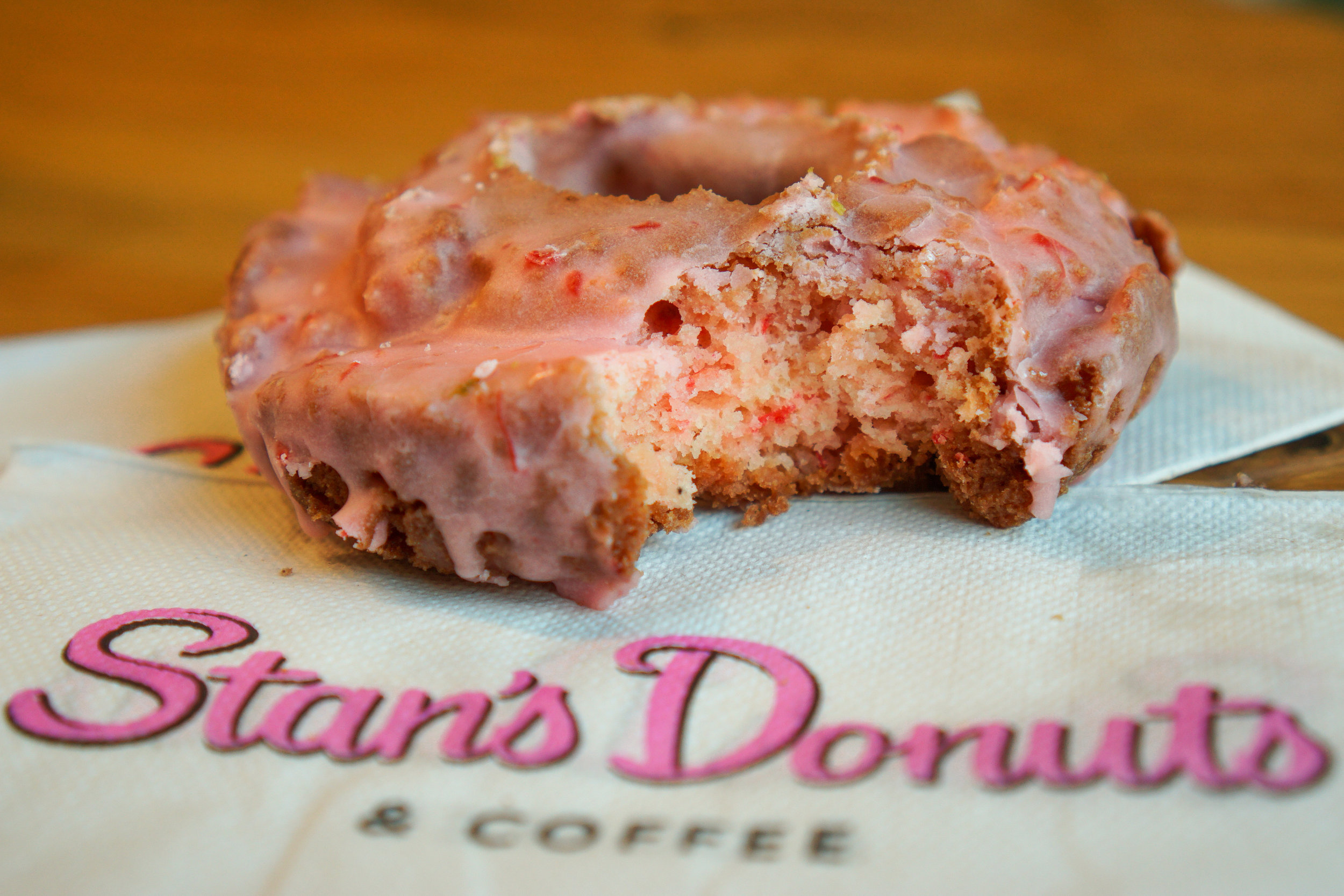 Strawberry old fashion from Stan's Donuts is always one of my go-to's when I can't decide.