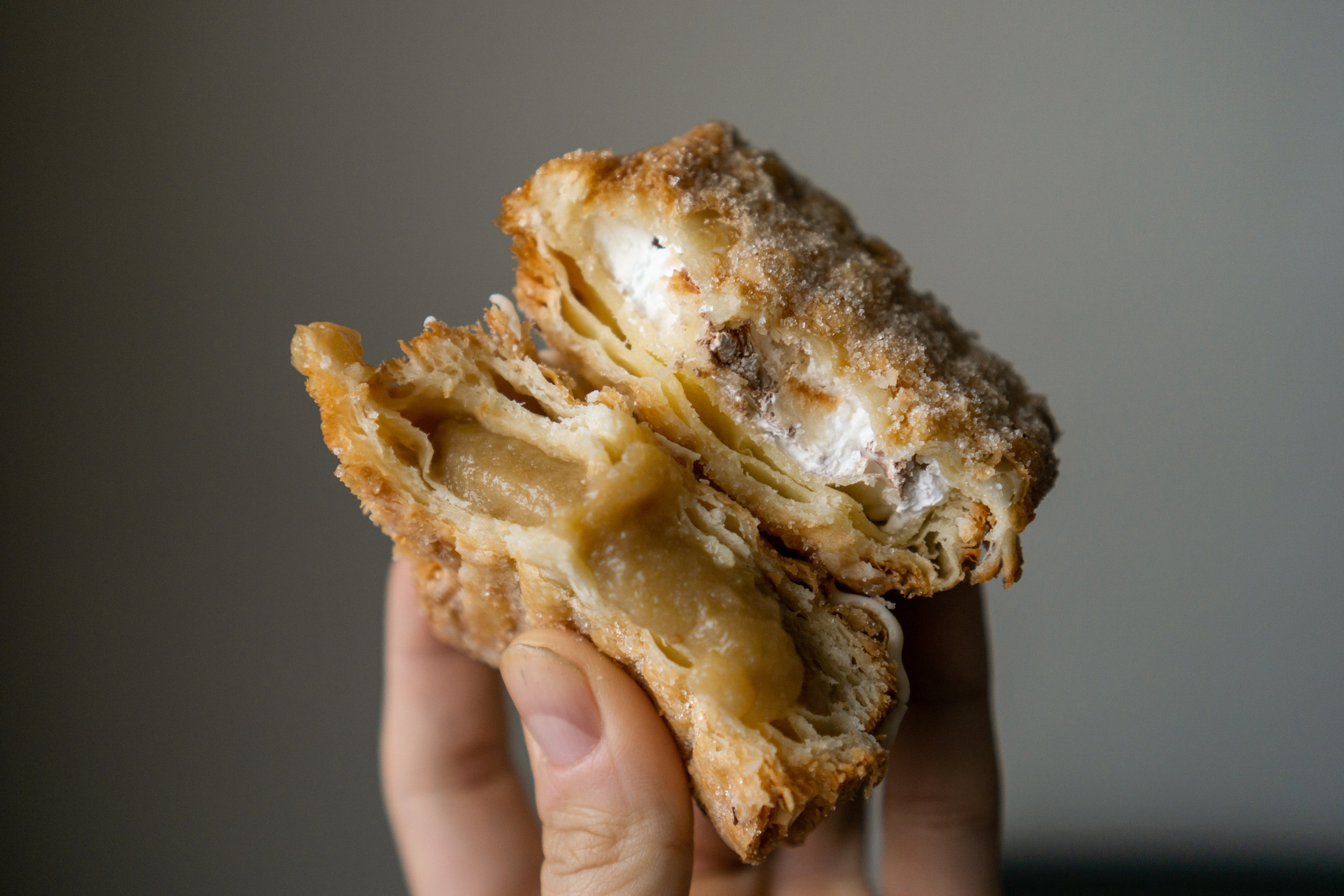 Apple pie filling made from scratch and a combination of marshmallow fluff and chocolate cream filled these crispy doughssants.