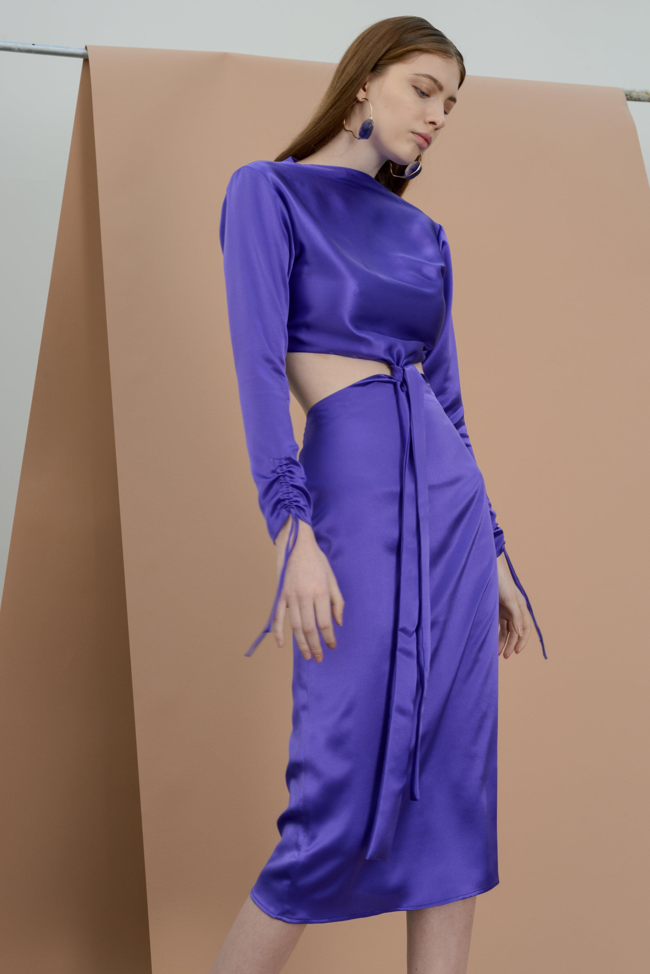 Maioc Amethyst Dress - violet satin