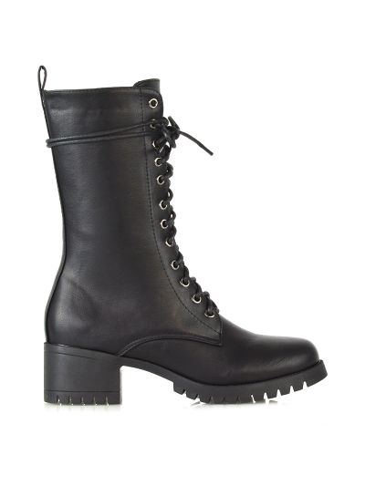LONG BLACK MILITARY BOOTS £22.99