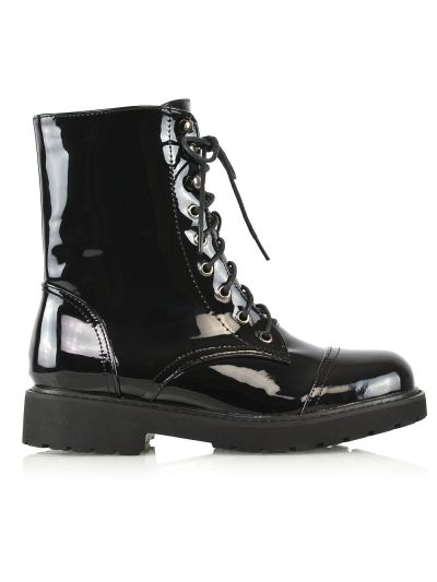 PATENT LACE UP COMBAT BOOTS £24.99