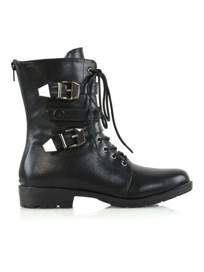 BLACK MILITARY BOOTS £24.99