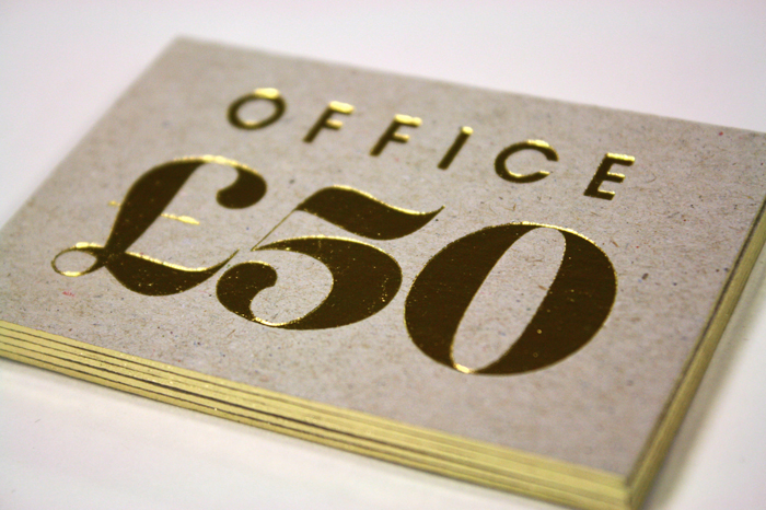 The gift card was also produced on Nomad board, with gold foiling on front and back, and a gilt edging.