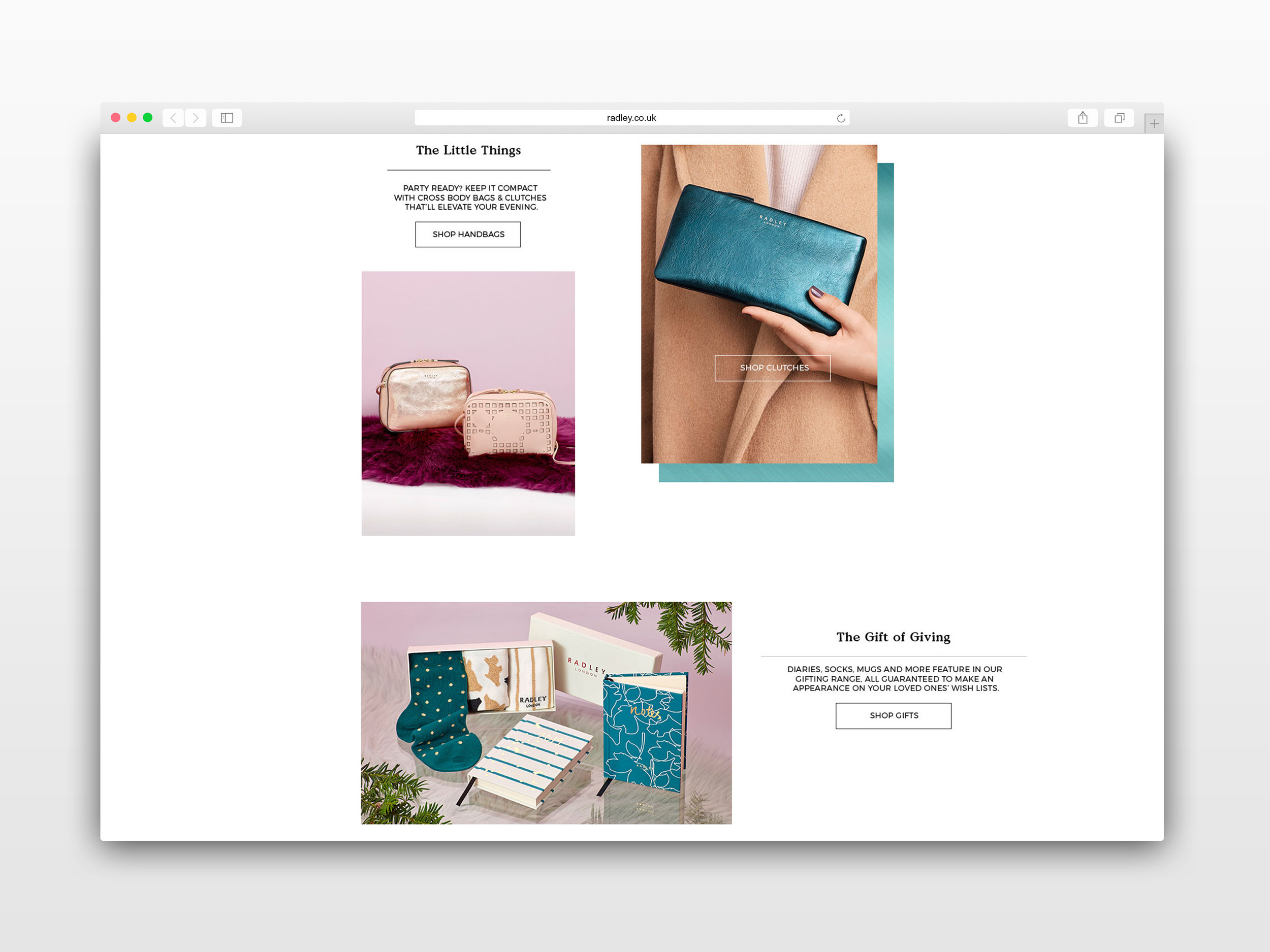 Radley Christmas 2018 • Website Design - Wireframe and visual layouts for the radley.co.uk re-design; rolling out Christmas campaign imagery across all device sizes.
