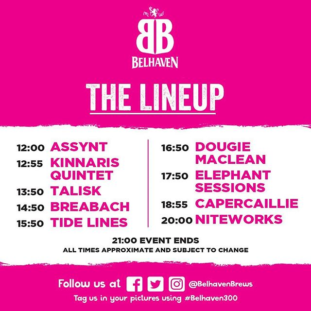 On our way to the Belhaven Birthday Bash. We're on at 12. Buzzing to be part of this line-up. See you there!