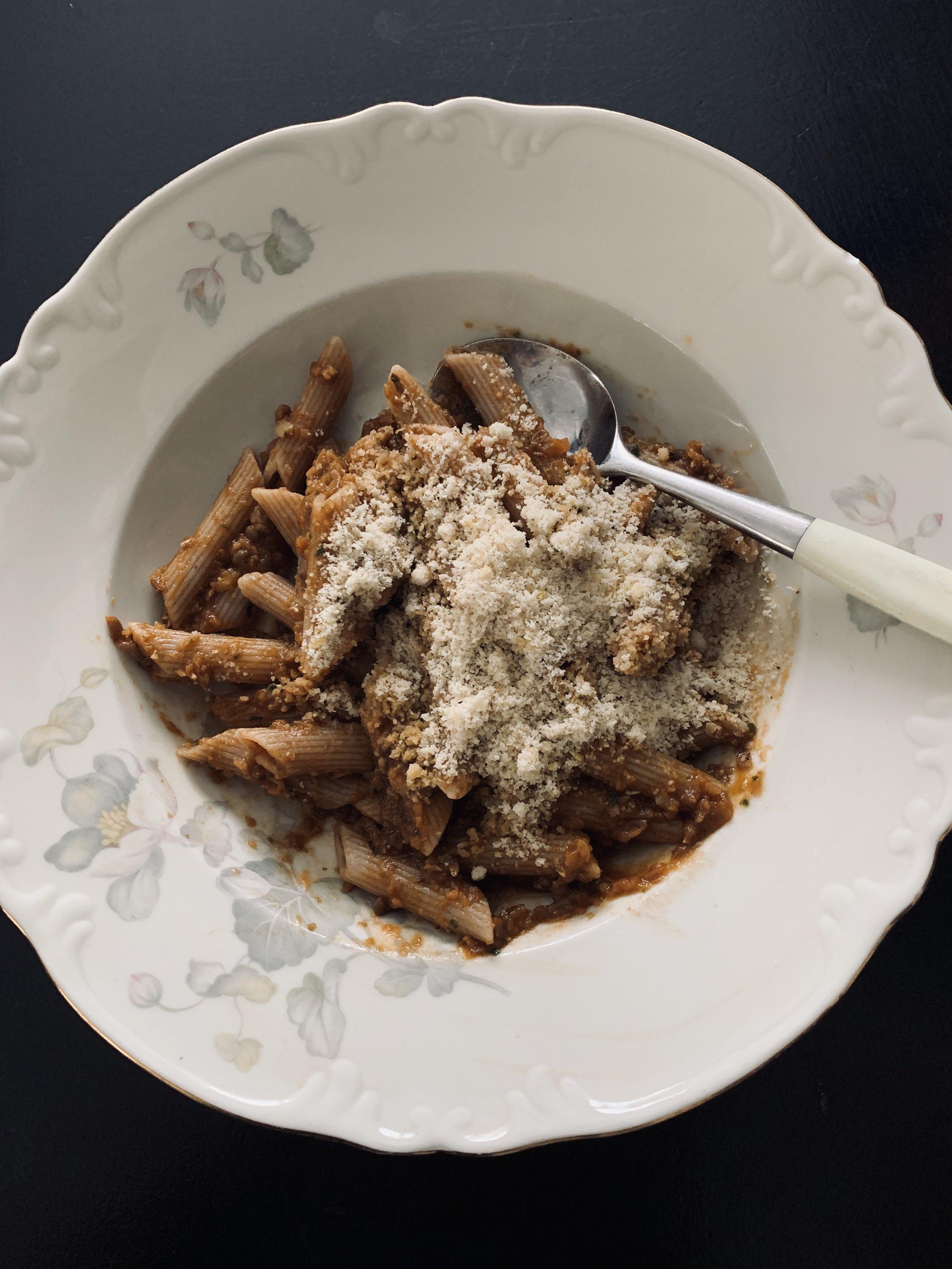 God olivenolje og no parm-parmesan på toppen er topp!