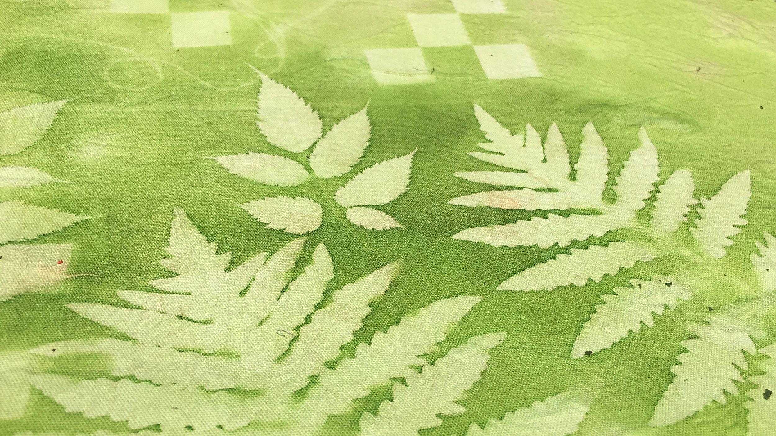 Green sun-printed fabric