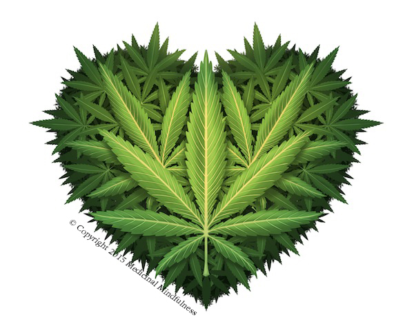 """[Image] A heart shape filled with green cannabis leaves. Text on the image reads """"Copyright 2015 Medicinal Mindfulness."""" Conscious Cannabis is a community event by Medicinal Mindfulness in Boulder, Colorado."""