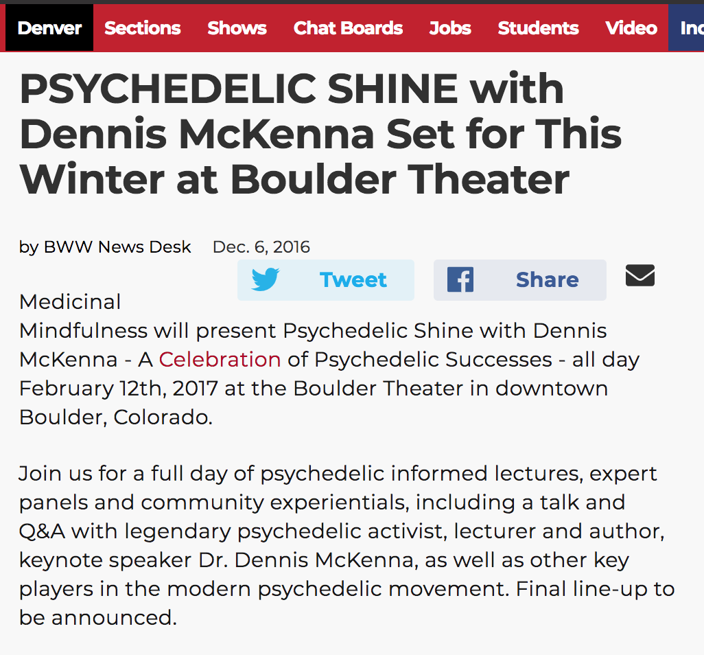 Broadway World Denver - Psychedelic Shine with Dennis McKenna Set for This Winter at Boulder Theater