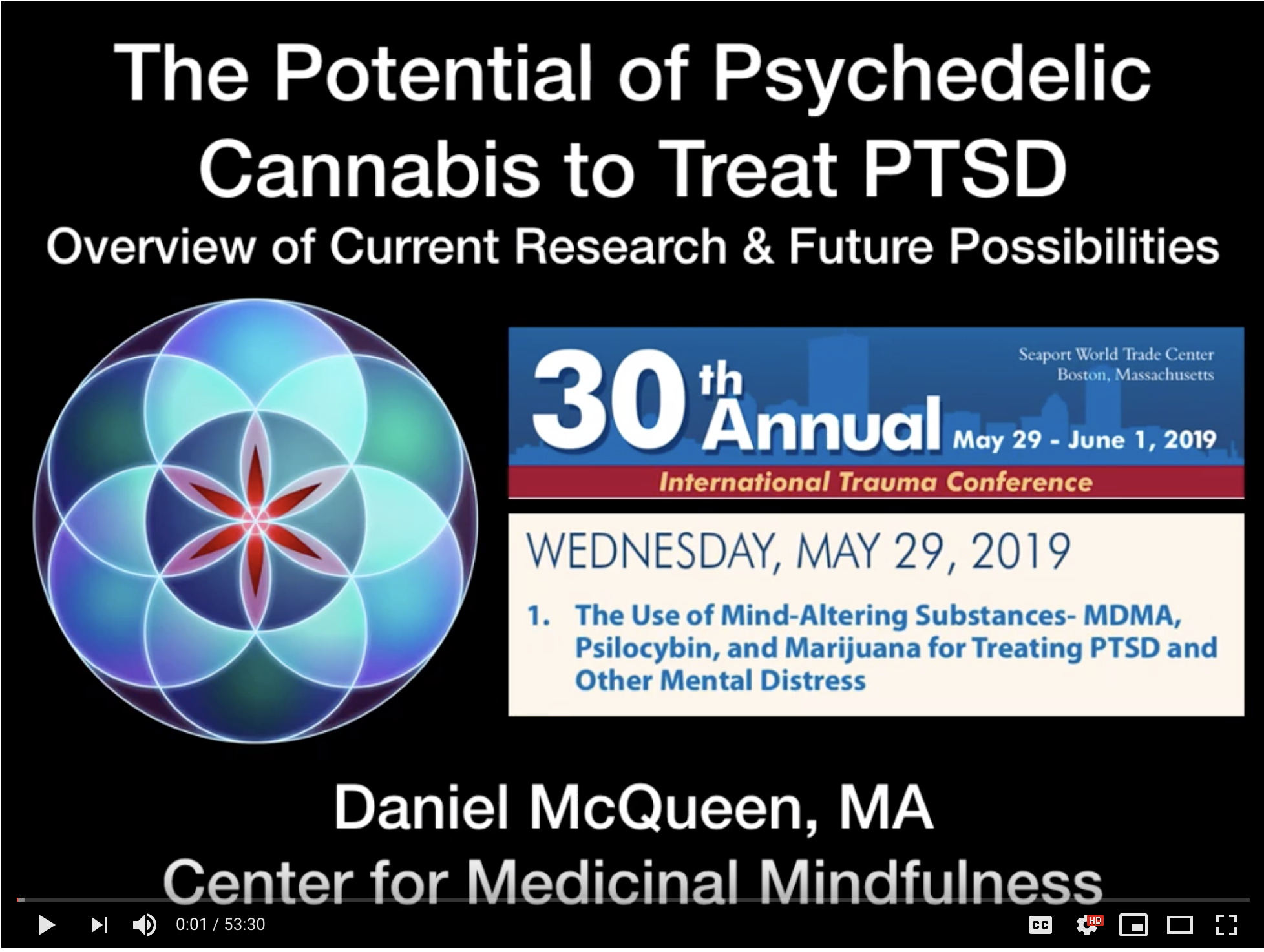 International Trauma Conference - Daniel McQueen, MA, Executive Director of the Center for Medicinal Mindfulness, speaks to the theory and practice of Cannabis Assisted Psychedelic Therapy and Cannabis Assisted Psychotherapy and how psychedelic cannabis can be used to treat trauma, PTSD and other clinical disorders.