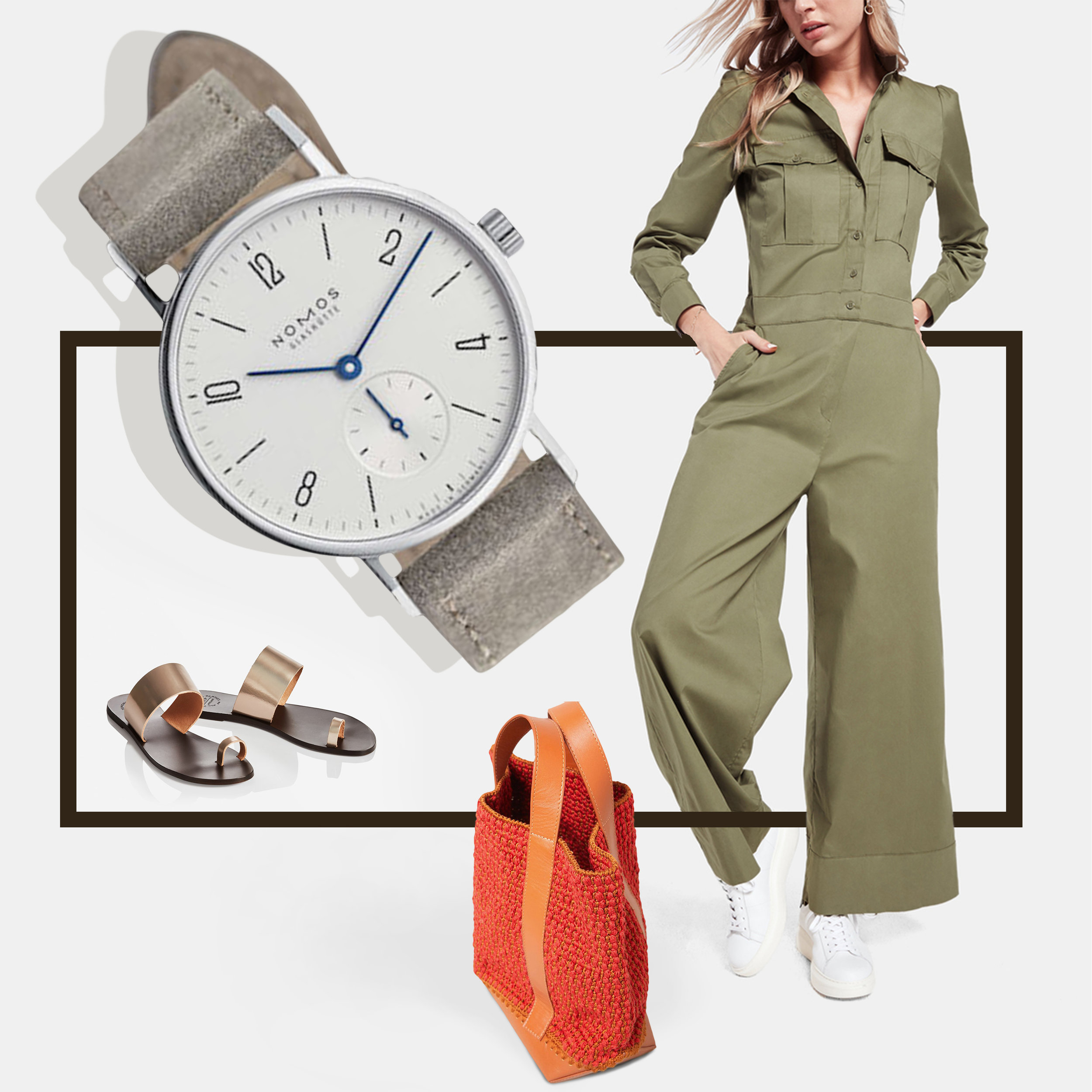 An easy day-to-evening jumpsuit is elevated by arty, streamlined accessories like the sleek NOMOS Glashütte Tangente 33 and a tomato-hued tote by Rachel Comey. - Clockwise from top left: G.Label utility jumpsuit, $450; ATP Atelier Astrid sandals, $128; NOMOS Glashütte Tangente 33 watch, $1,760; Rachel Comey crochet tote, $350.